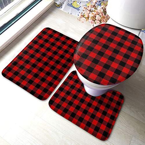 Set di 3 tappeti da bagno, motivo bufalo a quadri, morbidi assorbenti, antiscivolo, tappetino da bagno + contorno + coperchio WC