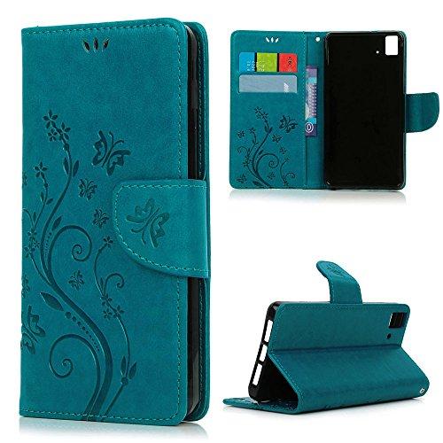 Funda bq Aquaris E5 4G LTE / E5s Libro de Cuero Impresión - Mavis's Diary Carcasa PU Leather Con TPU Silicona Case Interna Suave,Soporte Plegable,Ranuras para Tarjetas y Billetera,Cierre Magnético - Diseño de Mariposa y Flor,Azul (No para Bq E5 HD/FHD)