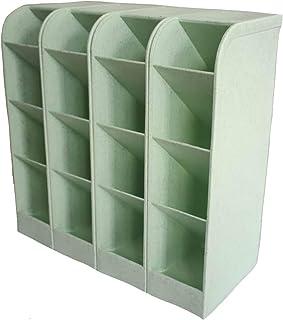 4 Pcs Wheat Straw Desk Organizer, Pen Organizer Storage for Office, School, Home Supplies, Wheat Straw & Green Pen/Marker/Paint Brush Storage Holder, Set of 4, 16 Compartments (Green)