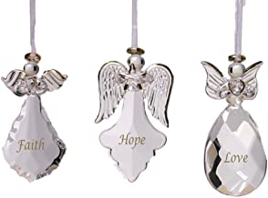 BANBERRY DESIGNS Faith Hope Love Glass Angel Ornaments - Set of 3 - Faith Hope Love Written on Each Ornament in Gold