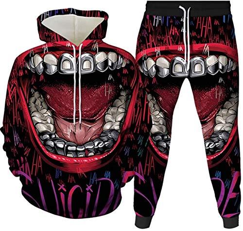 Sweater de los Labios Impresos 3D + Sweetpants Traje Deportivo Traje para Hombre Tacksuit Adecuado como Regalo (Color : B, Size : 3-L)