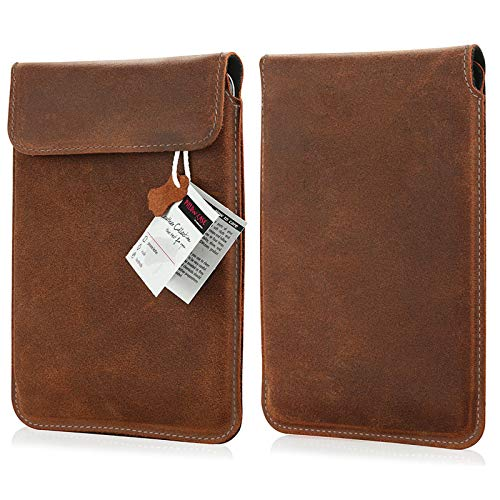 MOELECTRONIX ECHT lederen Ebook Reader hoes geschikt voor KOBO Clara HD | Beschermhoes lederen hoes Slim Tab met magneetsluiting | 6 inch BRUIN