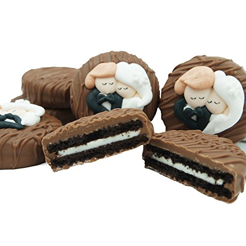 Philadelphia Candies Milk Chocolate Covered OREO Cookies, Bride and Groom Wedding Heart Gift Net Wt 8 oz