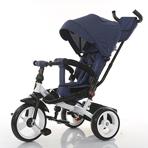 Babywagen 4 in 1 verstellbares und um 360 ° drehbares Kindersitz-Trike/Dreirad mit Sonnenverdeck und abnehmbarem Schieberegler für übergeordneten Griff Kinderwagen (Color : E)