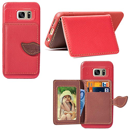 Gostyle Samsung Galaxy S7 Wallet Case Red,Slim PU Leather Cover with Credit Card Holder,Fashion Leaf Magnetic Closure Flip Cover with Kickstand Money Pouch Shockproof Protective Cover