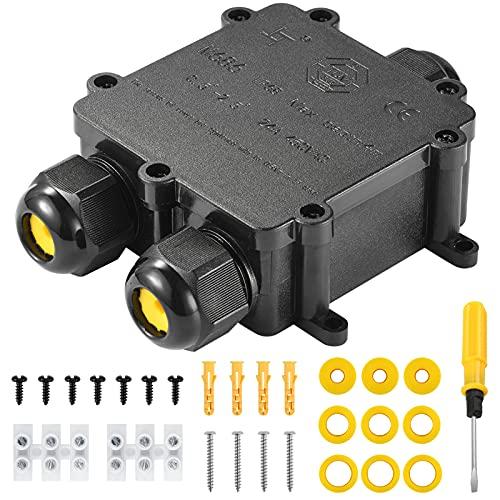 Kohree Cajas de Empalmes IP68 Caja de Conexiones Impermeable Eléctricas 3 vías para 4 mm-14 mm Diámetro del Cable Conector Exterior Cable