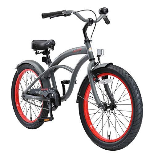 BIKESTAR Kinderfahrrad für Jungen ab 6-7 Jahre | 20 Zoll Kinderrad Cruiser | Fahrrad für Kinder Grau | Risikofrei Testen