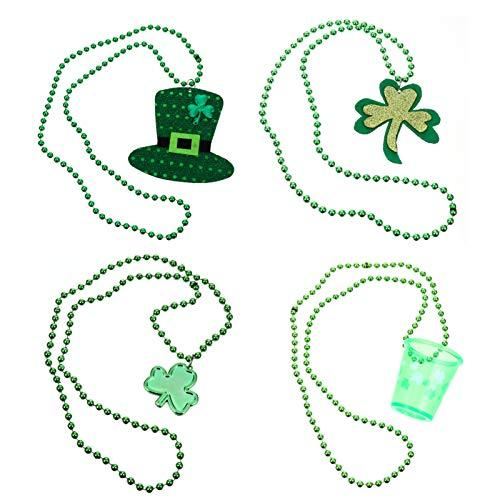 VALICLUD 4Pcs St. Patris Day Halskette Grün Klee Kleeblatt Perlen Halsketten für St. PatriParKstüm Verkleiden Acires