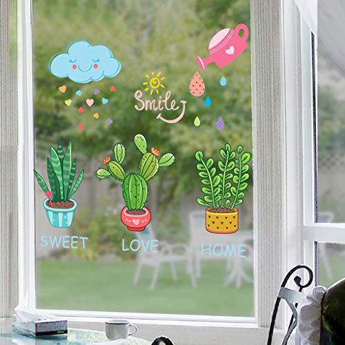 GZ-Littéraire Petit Fresh ins Autocollant Verre fenêtre Fleur Salon Balcon fenêtre Autocollants Enfants Plante décorations en Pot