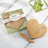 Kate Aspen Tastefully Yours Heart-Shaped Bamboo Cheese Board, Miniature Cutting Board, Sage Green/Brown, 4.5' H x 5' W