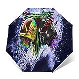 TISAGUER Regenschirm Taschenschirm,Cosmic Alien Helm,Dreiecke auf rosa Felsen,lila Farbe Hintergrund,Auf Zu Automatik,windsicher,stabil