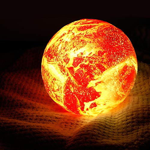 Homealexa 3D Flamme Mondlampe, RGB 16 Farben Raum Mondlicht 15cm Durchmesser Mond Lampe Universum Nachtlicht Lampe mit Fernbedienung USB Aufladung Stimmung Licht für Schlafzimmer, Weihnachten