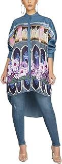 SUCCIOR Women Long Sleeve Button Down Cardigan Jacket Blouse Tops Casual Denim Shirt Dress S-XXL