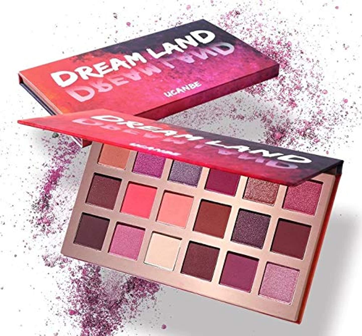 料理電話賃金Ni Yom Thai shop Shimmer Matte Dreamland Eyeshadow Makeup Palette 18 Color Purple Pink Pigment Eye Shadow Powder Waterproof Cosmetic Kit