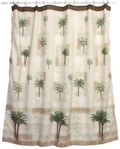 cream beige citrus palm tree shower curtain