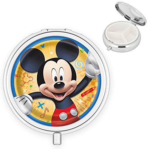 DISNEY COLLECTION Pill Box 3 Compartment Mickey Mouse Round Metal Silver Design Travel Daily Medicine Organizer Case Pocket Compact for Vitamin Supplement