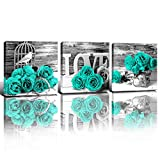 Teal Decor Wall Art Paintings for Bedroom Turquoise Pictures Black and White Couples Bathroom Kitchen Living Room Accessories Set Mint Green Rose Flower Canvas Prints Aesthetic Home Decorations 12x12'