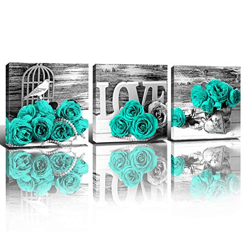 Teal Decor Wall Art for Living Room Turquoise Paintings Pictures Couples Bedroom Bathroom Kitchen Accessories Black and White Mint Green Roses Flower Canvas Prints Home Decorations Set 3 Panels 12x12