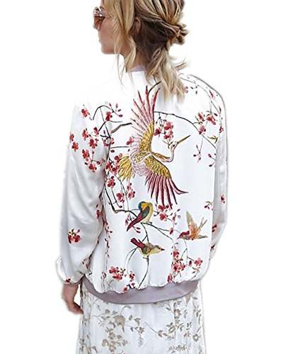 Mojessy Women's Floral Print Classic Quilted Baseball Jacket Fall Short Biker Bomber Jacket Coat, White-1, S