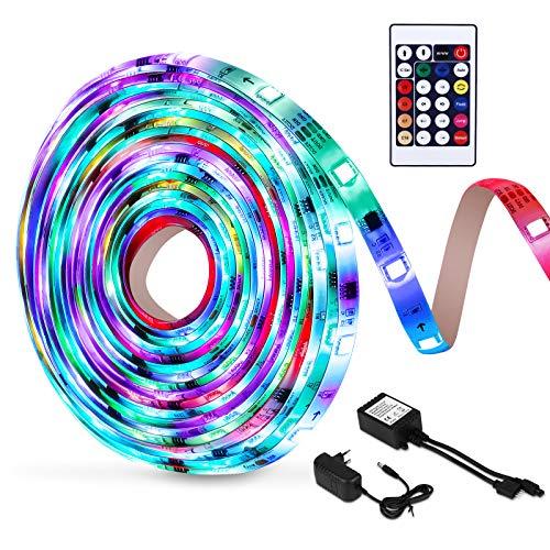 5M LED Colores, OUSFOT Tira LED RGB Luces LED con Control Remoto IP65 8 Colores 18 Combinaciones Multicolores Manguera LED para Navidad Fiesta Bar Pasillo Jardín Habitación