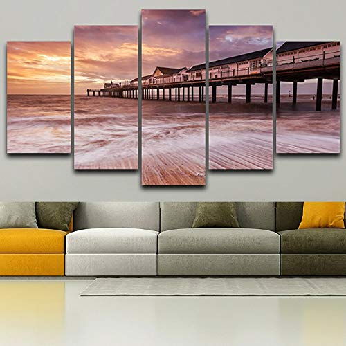 Carteles de decoración Impresos en HD Trabajan 5 Paneles Casas Junto al mar Vista del Atardecer Modern Wall Art Pictures Home Living Room