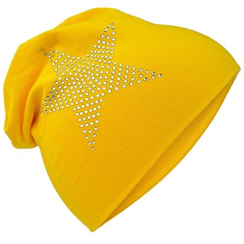 Miobo StrassStern Baby Kinder Jersey Slouch Beanie Long Mütze mit Strass Stern Unisex Baumwolle Trend StrassStern-Gelb-48