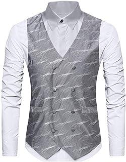 Gold Vest, Men Autumn Winter Suit Gilet Wedding Sleeveless Slim Fit Dress Vests for Men Single Breasted (Color: Gold, Size: L) (Color : Silver, Size : S)