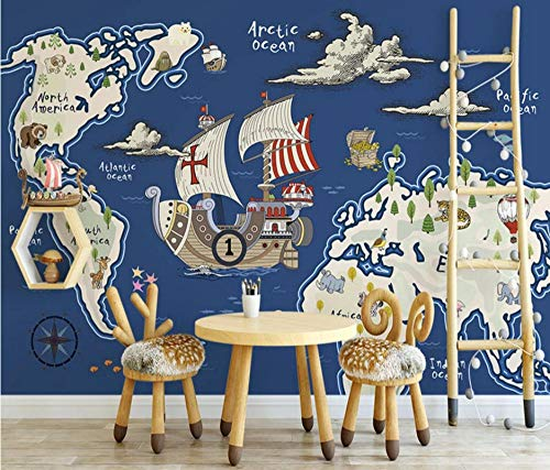 MKmd-s 3D Wallpaper Walls Modern Minimalist Abstract, World Animal Treasure Map Nautical Wind Children's Room