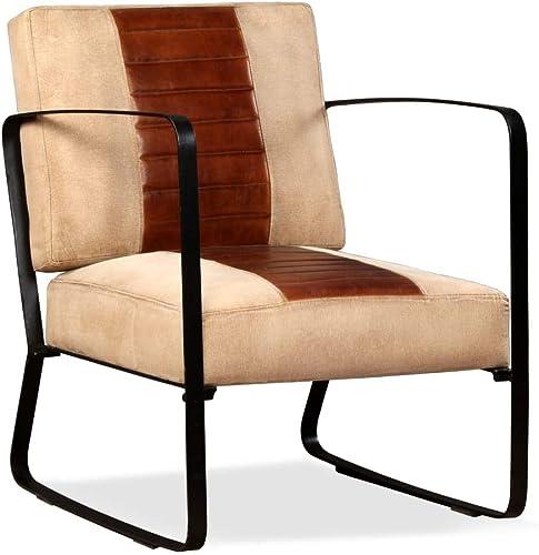 Xingshuoonline Sessel aus echtem Leder und Segeltuch, Braun, Sitzbreite  47 cm