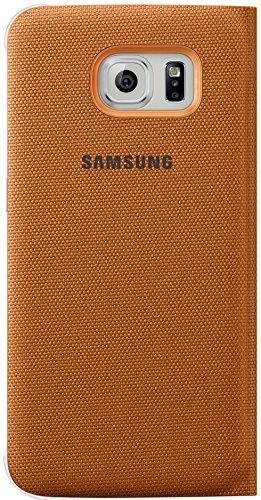 Samsung Fabric Flip Folio Wallet Schutzhülle Case Cover mit Kreditkartenfach für Galaxy S6 Edge - Orange