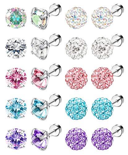 Jstyle 10Pairs 18G Ear Stud Earrings for Women Stainless Steel Cubic Zirconia Earrings Tragus Cartilage Piercing Barbell Screwback Earrings Set 8MM