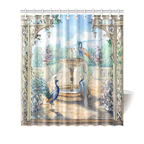 INTERESTPRINT Home Bathroom Decor Floral Watercolor Peacocks Shower Curtain Hooks 66x72 Inch-Colorful Fabric Watercolor Peacocks in A Spring European Garden with Fountains & Flowers