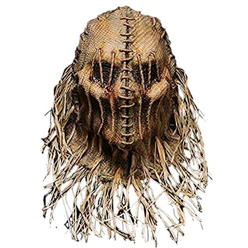 Máscara de espantapájaros aterradora, Cubierta de Cabeza de espantapájaros de Halloween con Guantes y Sombrero, Sombrero de Disfraz de Halloween para Fiesta de Disfraces, Cosplay