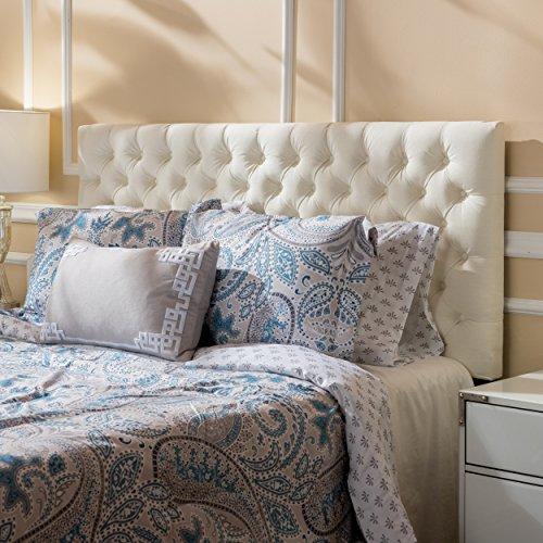 Christopher Knight Home Jezebel Headboard - Fully Upholstered, Queen / Full, Ivory