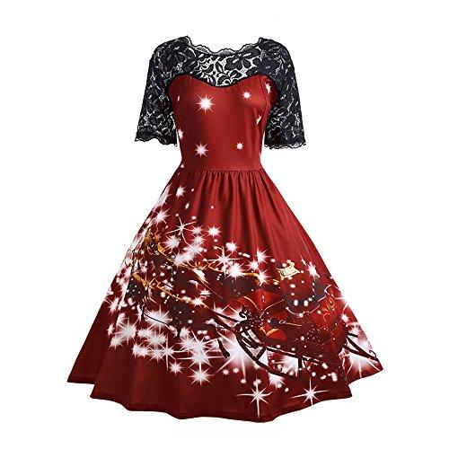 FRAUIT Damen Weihnachts Kleid Langarm Weihnachten Pullover Kleid Weihnachtskleider Cocktailkleid Druck Kleid Blumenspitze A-Line Elegantes Festlich Kleid Vintage Hepburn Kleid (L, Wine1)