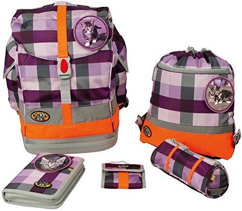 School-Mood Schulrucksack-Set Fly 6-tlg. Katze 65620 purple check
