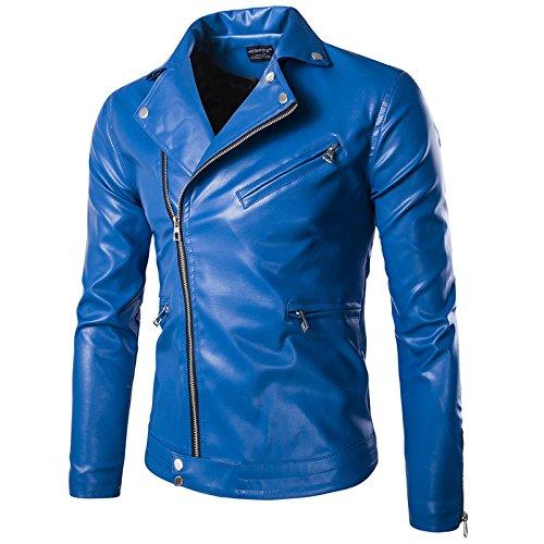 Elonglin Jaqueta masculina de couro sintético para motociclista, jaqueta de motociclista com zíper e gola clássica para manter quente outono e inverno, Azul, Size US L (Asian 3XL)