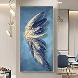 HSFFBHFBH Moderno Azul Dorado Pluma Hojas Abstracto Lienzo Pintura Pared Arte impresión Cartel Imagen Sala de Estar decoración del hogar 50x100 cm Marco Interior