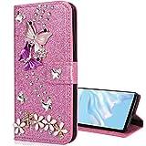 Nadoli Leder Hülle für Huawei P Smart 2021,Glitzer Diamant 3D Handyhülle im Brieftasche-Stil Schmetterling Blumen Flip Schutzhülle Etui,Rosa