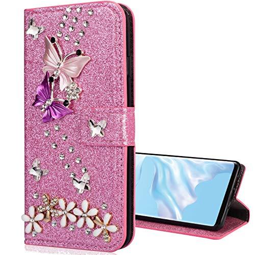 Nadoli Leder Hülle für Galaxy A51,Luxus Bling Glitzer Diamant 3D Handyhülle im Brieftasche-Stil Schmetterling Blumen Flip Schutzhülle Etui für Samsung Galaxy A51,Rosa