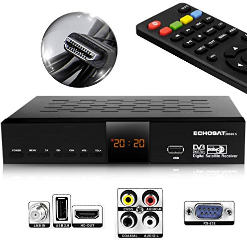 Hd-Line Echosat 20500 S Digitaler Satelliten HD Receiver (HDTV, DVB-S /DVB-S2, HDMI, AV, 2X USB 2.0, Full HD 1080p, Digital Audio Out) [Vorprogrammiert für Astra, Hotbird und Türksat]