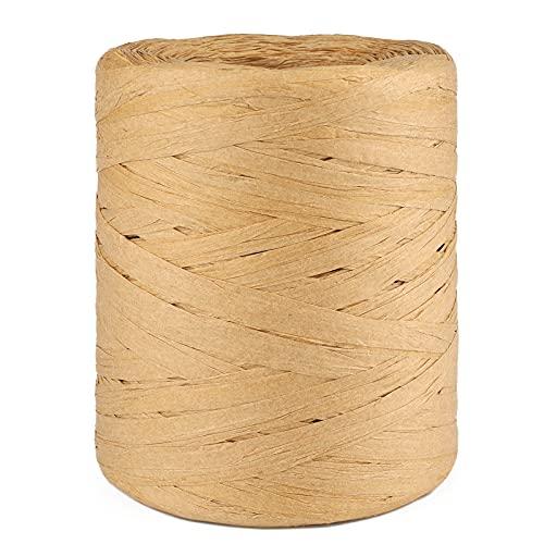 Bast Raffia Papierband 200M Bastelband Papier Schnur für Geschenkverpackung, Dekoration, Strauß, Weben (Kraftfarbe)