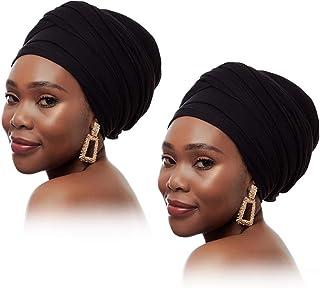 EVQ 2 قطعة تمتد رئيس التفاف وشاح طويل الشعر عمامة الأوشحة التعادل صبغ & سادة أغطية الرأس للنساء