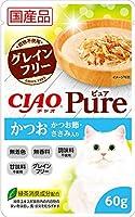 (まとめ買い)いなばペットフード CIAO Pureパウチ かつお かつお節・ささみ入り 60g 【×32】