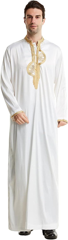Xingsiyue Men's Muslim Robes Islamic Dubai Long Sleeve Thobe Arab Kaftan