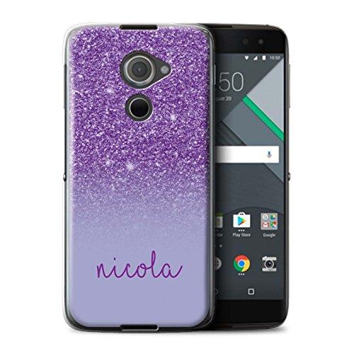 Personalisiert Hülle Für BlackBerry DTEK60 Individuell Glitter Effekt Lila Design Transparent Ultra Dünn Klar Hart Schutz Handyhülle Case