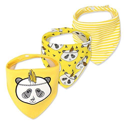 CuteOn Bebé Babear Baberos, unisex 3-Pack absorbente algodón, Triángulo Babero con broches de presión para regalo Boys & Girls - Surtido