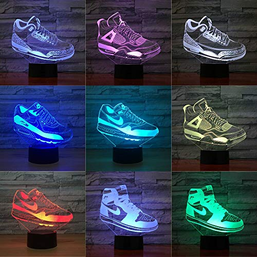 Zapatillas de baloncesto Michael Jordan USB multicolor lámpara de mesa 3D LED luz nocturna decoración regalo