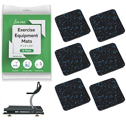 """AR-PRO (6 Pack) Exercise Equipment Mats - 4"""" x 4"""" x 0.5"""" Anti-Slip, Shock Absorbent Rubber Floor Protective Mats Perfect for Treadmills, Elliptical Trainers, Rowing Machines, and Stationary Bikes"""