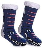 MQELONG Children's Warm Slipper Socks Kids Boys Girls Soft Cozy Thick Winter Indoor Socks (8-12 Years, Dark Blue Cute Dinosaur)